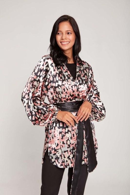 Desenli Saten Kimono (Pembe)
