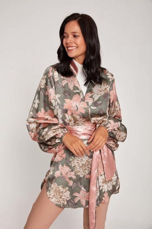 Desenli Saten Kimono (Pudra)