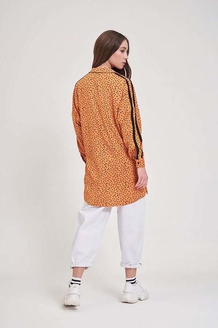 Desenli Trend Gömlek (Turuncu) - Thumbnail