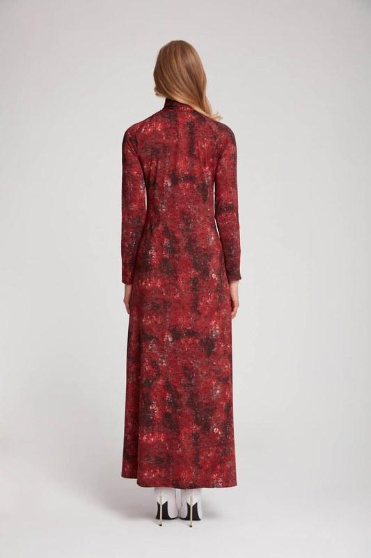 فستان فسكوز منقوش (أحمر كلاريت)