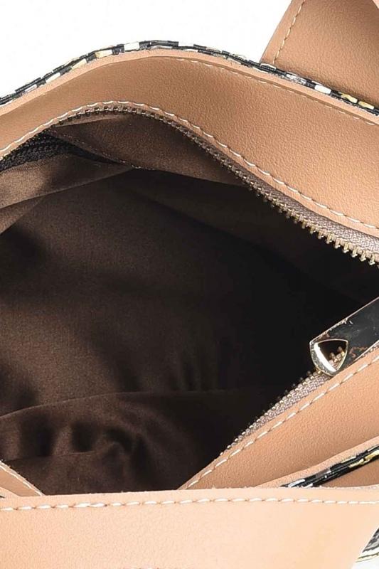حقيبة يد متعرجة منقوشة (أسود)