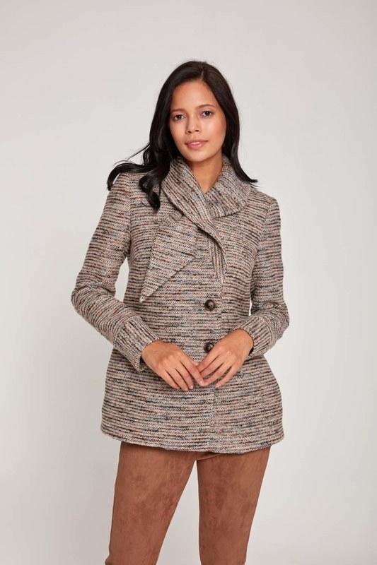معطف تصميم قصير (البيج)