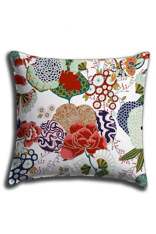 غطاء وسادة الدانتيل الرقمية المطبوعة الأزهار (44 × 44)