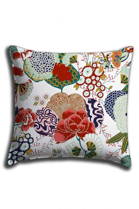 Digital Printed Floral Lace Pillow Cover (44X44)