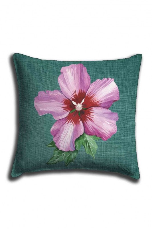 Digital Printed Pink Flower Lace Pillow Cover (44X44)