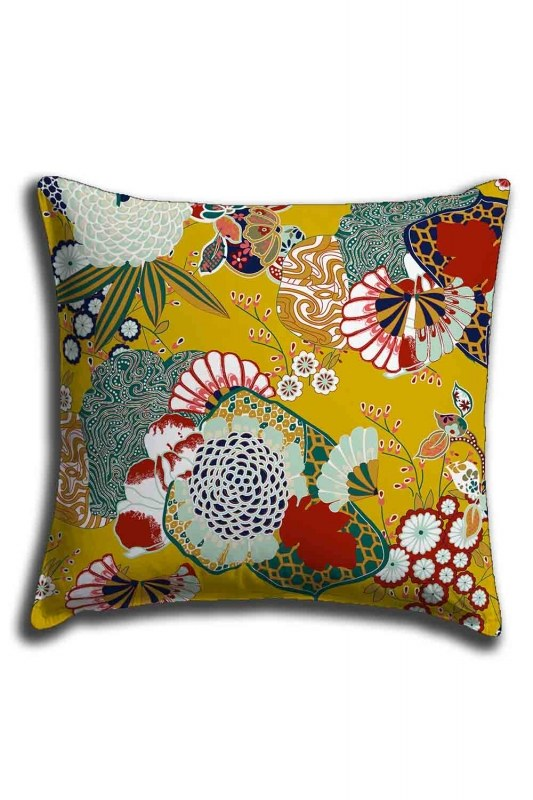Digital Printed Spring Pattern Lace Pillow Cover (44X44)