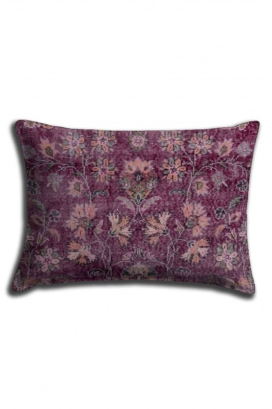 Digital Printed Violet Flower Lace Pillow Cover (30X50)