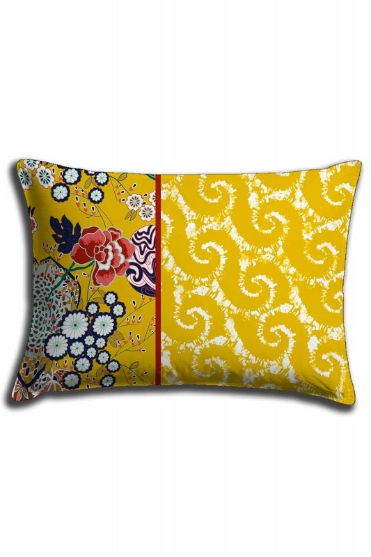 غطاء وسادة الدانتيل الرقمية المطبوعة ، والنمط الأصفر (30X50)