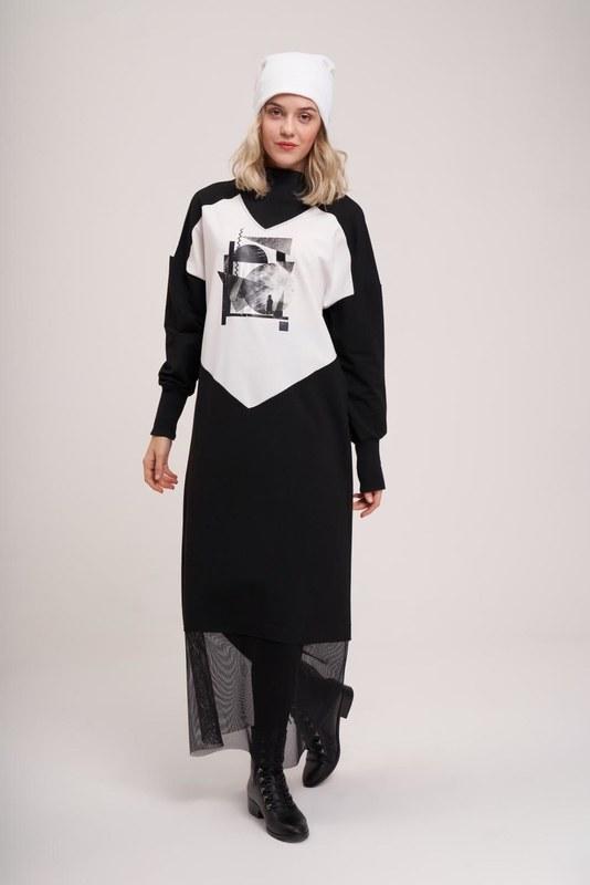 Dijital Baskılı Sweat Elbise (Siyah)