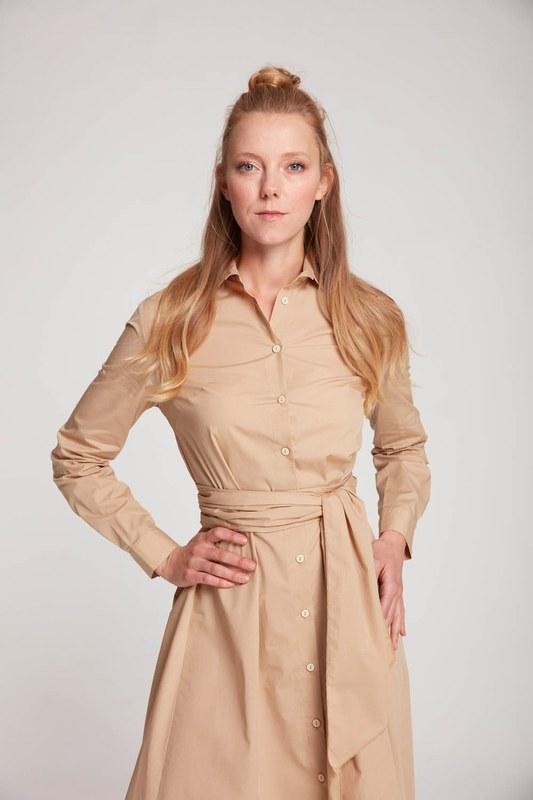 فستان قميص عمودي (بيج)