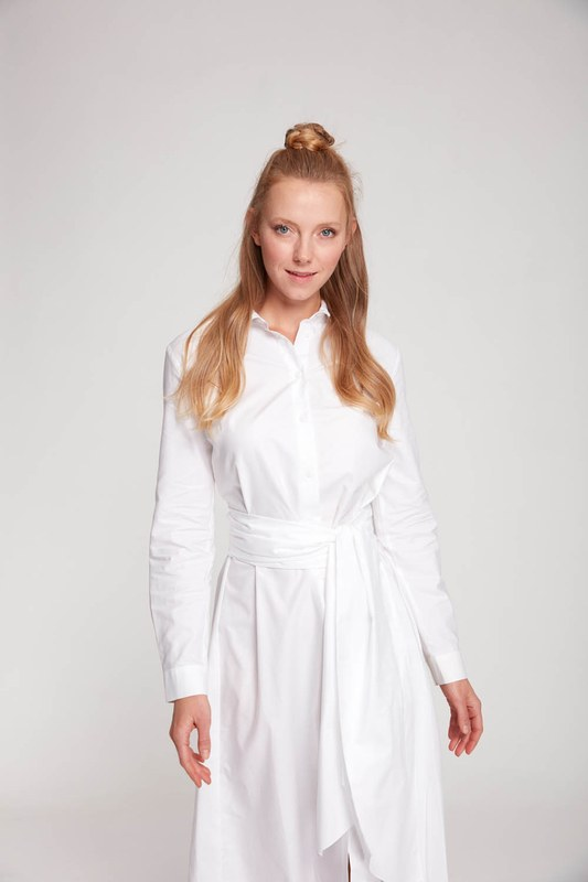 Dik Yaka Gömlek Elbise (Ekru)