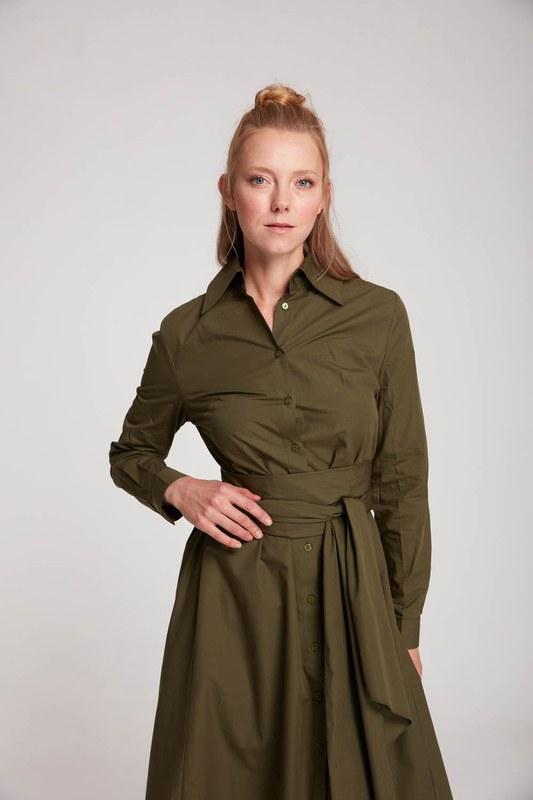 فستان قميص بياقة مستقيمة (كاكي)