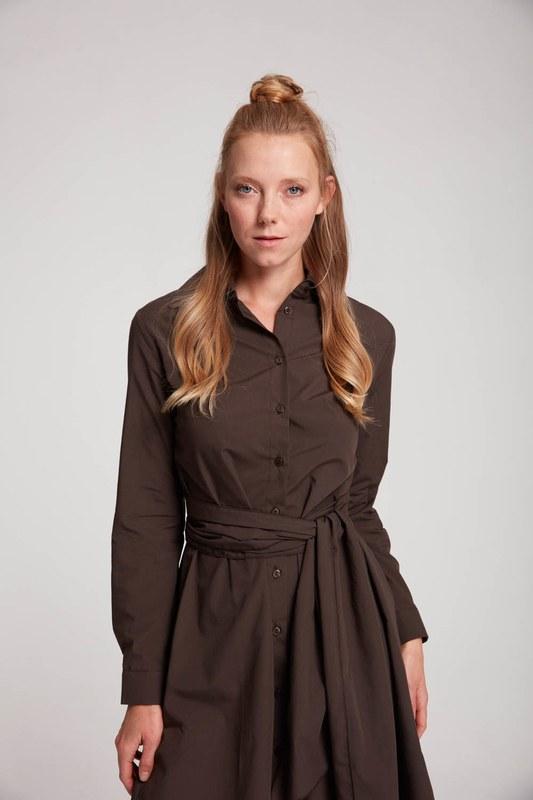 فستان قميص عمودي (بني)