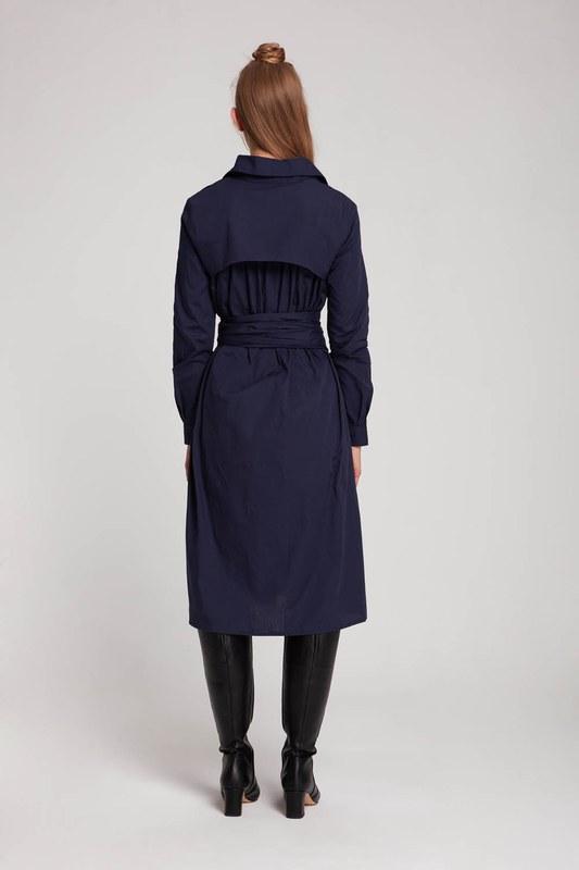 فستان قميص عمودي (الأزرق الداكن)