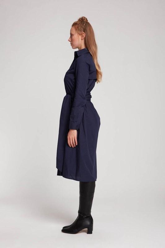Dik Yaka Gömlek Elbise (Lacivert)