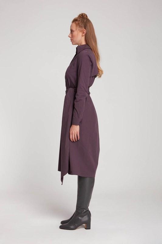 فستان قميص بياقة مستقيمة (بلوم)