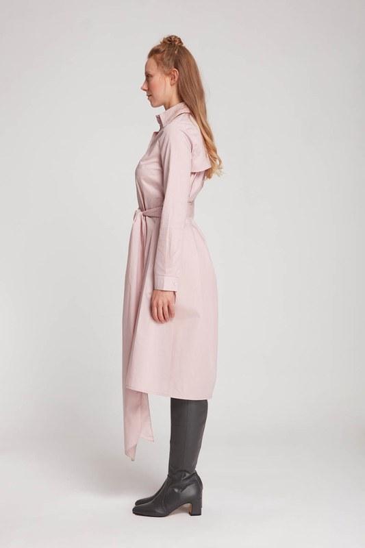 فستان قميص بياقة مستقيمة (مسحوق)