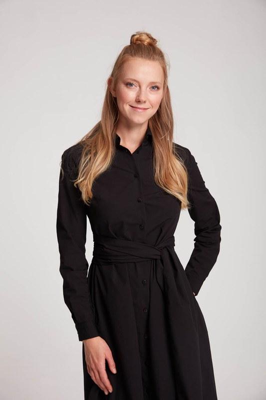 فستان قميص عمودي (أسود)