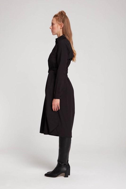 Dik Yaka Gömlek Elbise (Siyah)