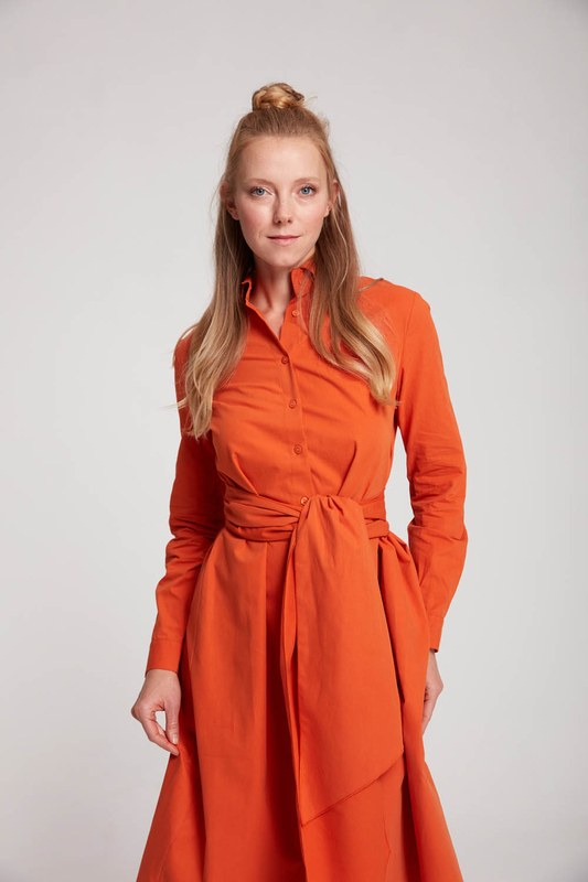 Dik Yaka Gömlek Elbise (Turuncu)