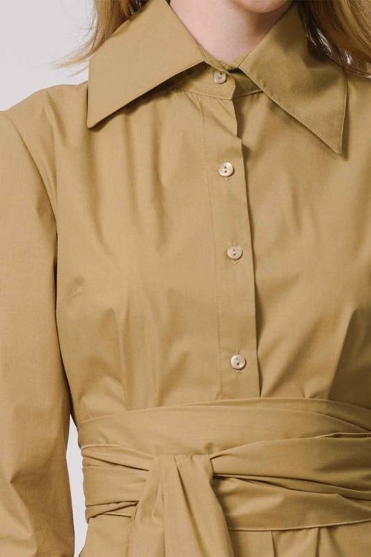 Dik Yakalı Gömlek Elbise (Bej)