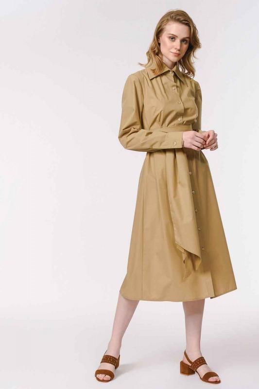 Vertical Collar Shirt Dress (Beige)