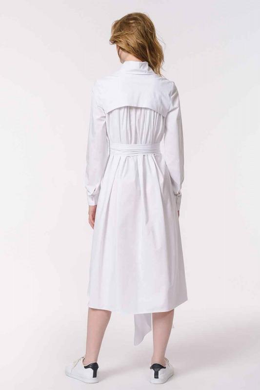 فستان القميص مع ذوي الياقات البيضاء (أبيض)