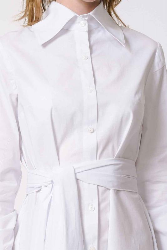 Dik Yakalı Gömlek Elbise (Beyaz)