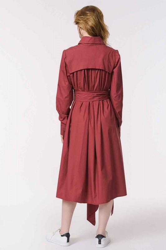 Vertical Collar Shirt Dress (Claret Red)