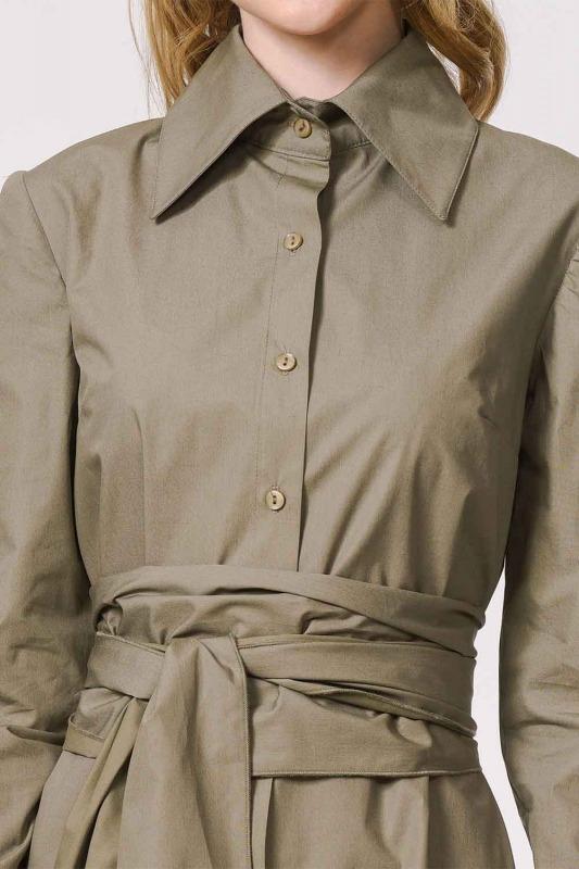Dik Yakalı Gömlek Elbise (Haki)