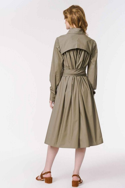 Vertical Collar Shirt Dress (Khaki)