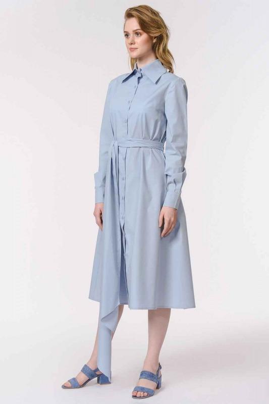 Dik Yakalı Gömlek Elbise (Mavi)