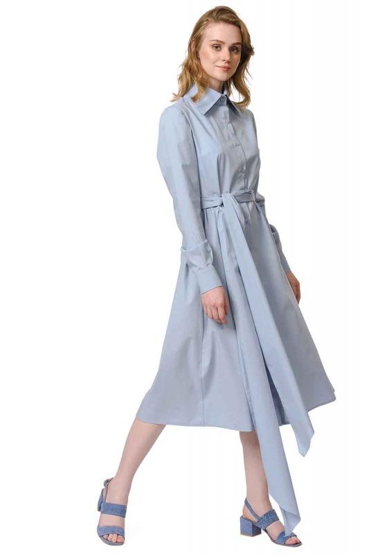 Vertical Collar Shirt Dress (Blue)