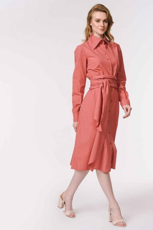 Vertical Collar Shirt Dress (Coral)