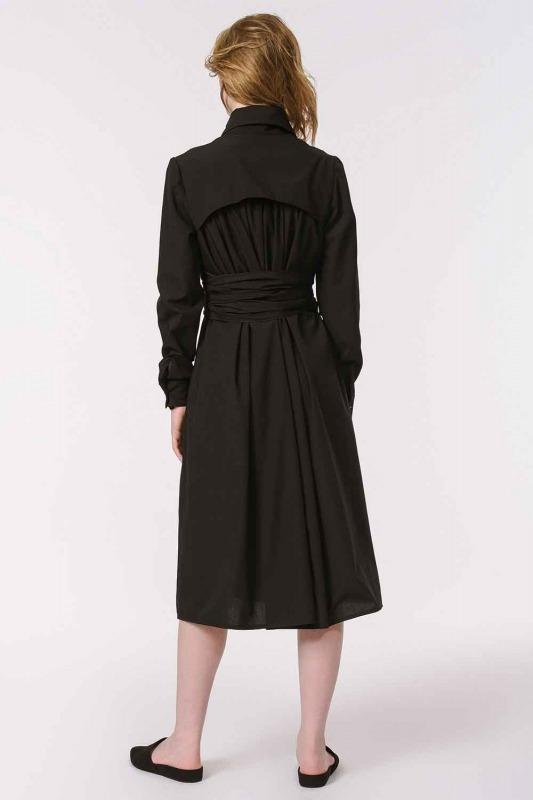 Dik Yakalı Gömlek Elbise (Siyah)