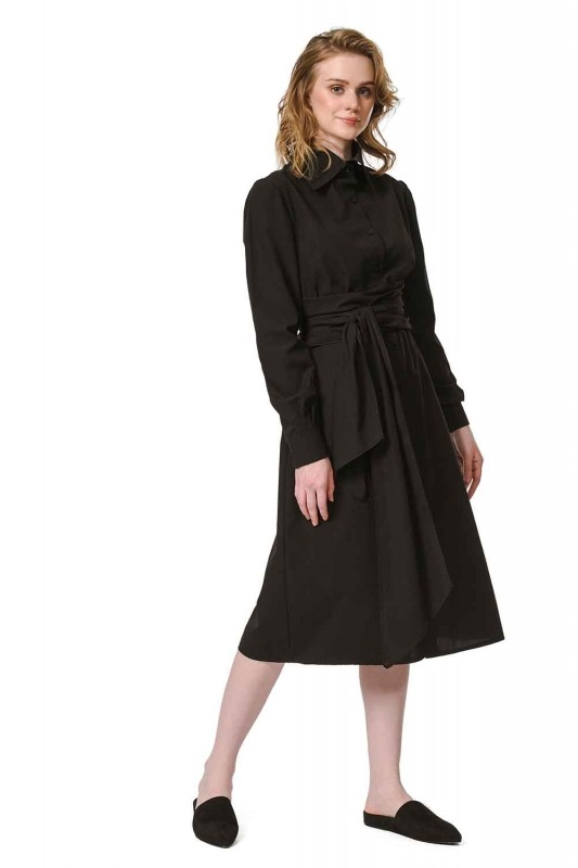 Vertical Collar Shirt Dress (Black)