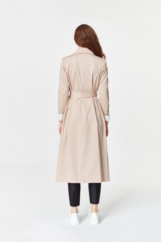 Double Colored Gabardine Trenchcoat (Beige)