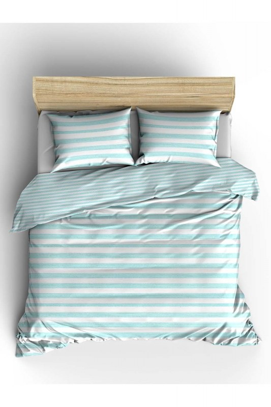 Double Green Striped Linens Set (240X220)