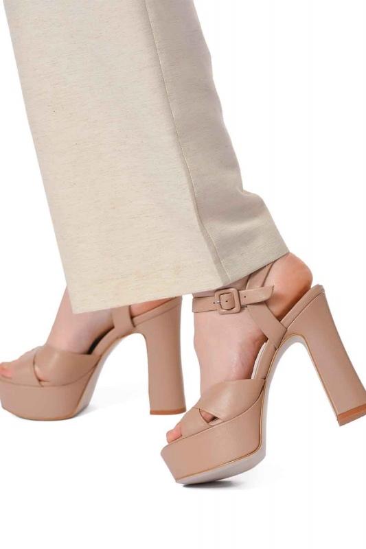 Double Platform Leather Shoes (Beige)