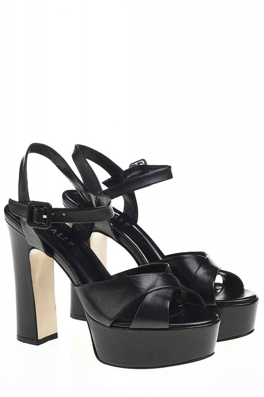 Double Platform Leather Shoes (Black)