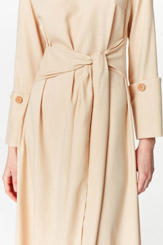 Dress With Sleeves Button Details (Beige)