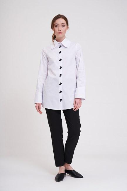 Düğme Detaylı Tunik Gömlek (Beyaz) - Thumbnail