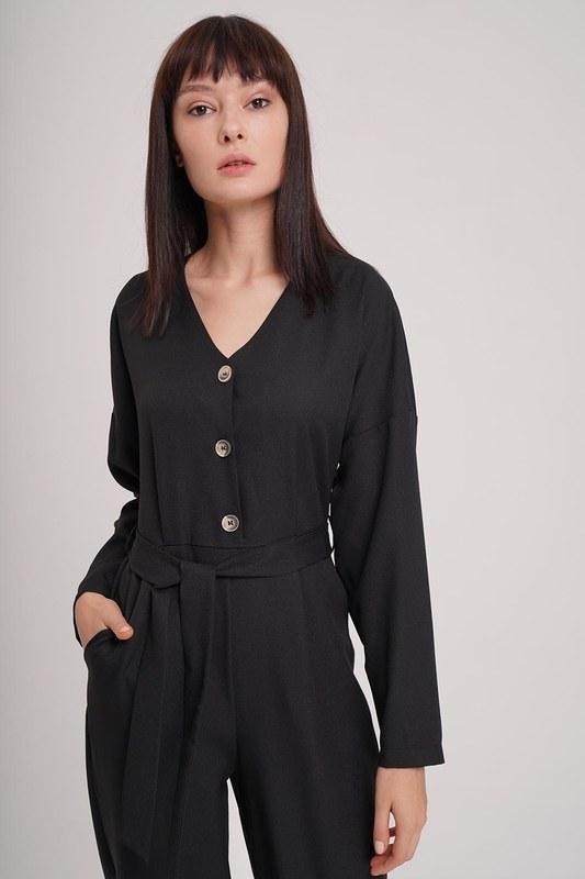 Buttoned Crepe Jumpsuit (Black)