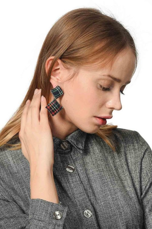 Square Earrings Plaid Patterned (Multi)