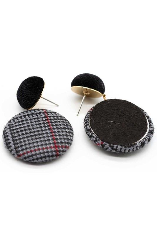 Plaid Patterned Oval Earrings (Black)