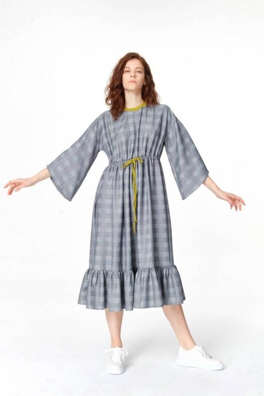 Ekose Desenli Uzun Elbise (Lacivert)