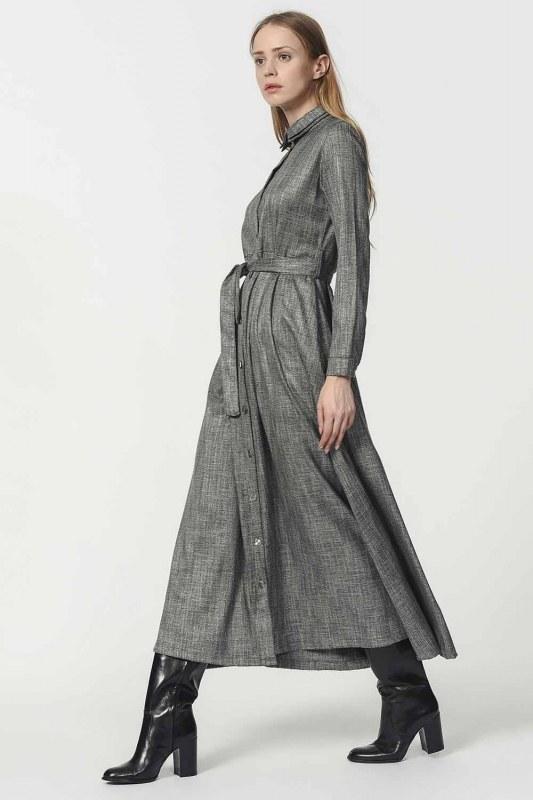 Beli Kuşak Detaylı Elbise (Gri)