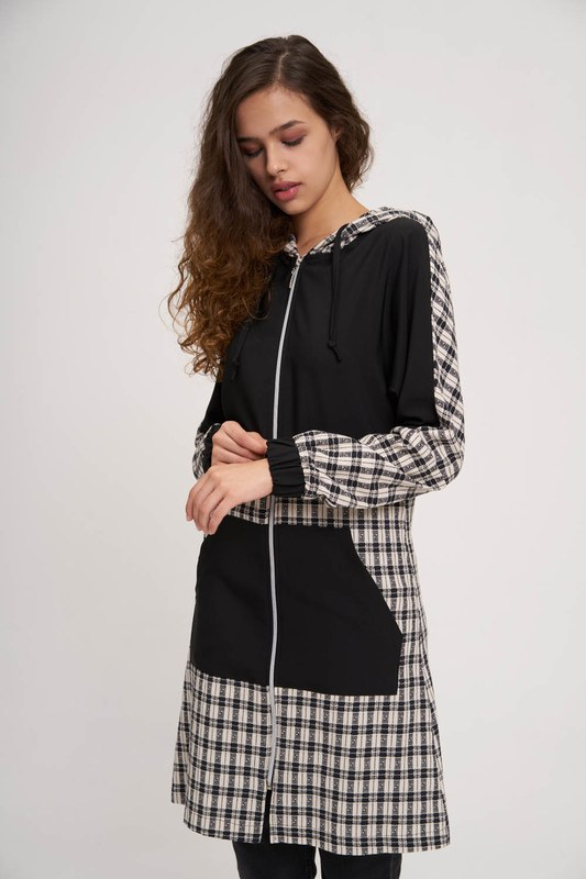 Ekose Garnili Fermuarlı Sweatshirt (Siyah)