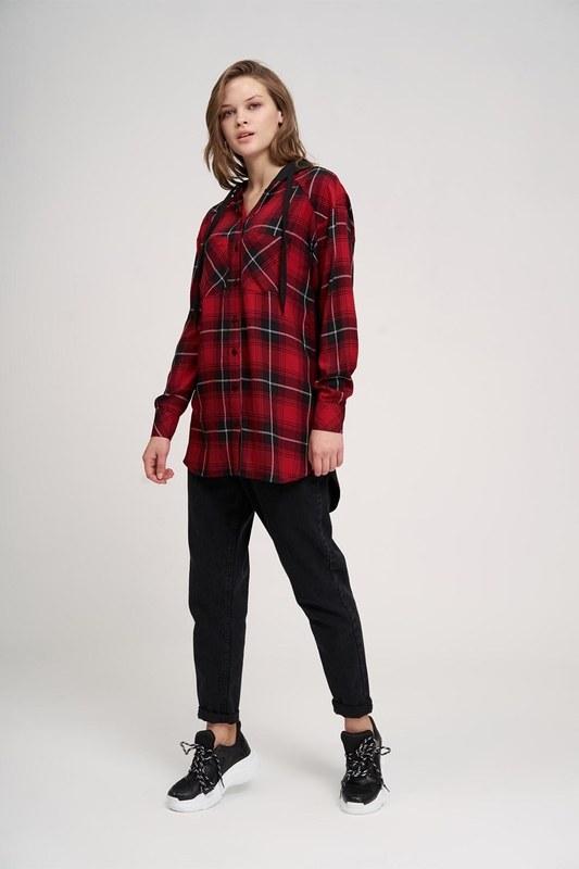 Plaid Hooded Shirt (Red)