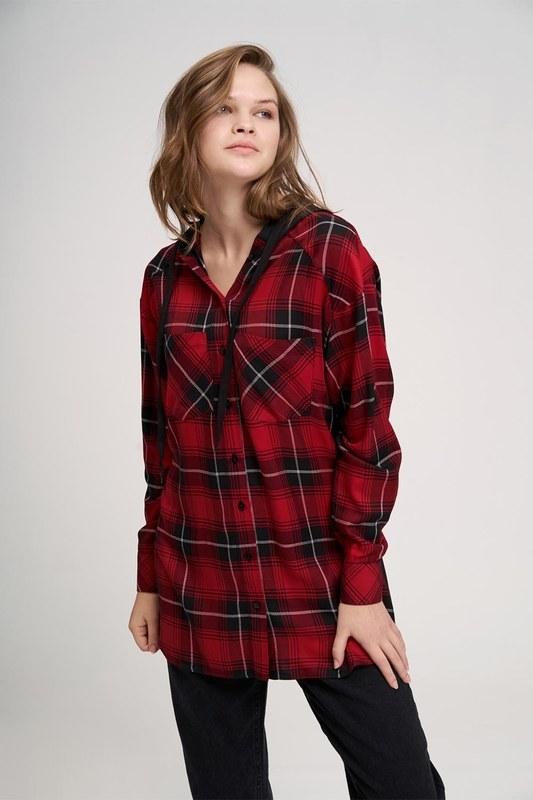 Ekose Kapüşonlu Gömlek (Kırmızı)